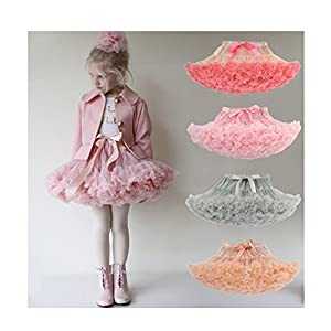 Genuo Girls Cute Ballet Tulle Pleated Princess Tutu Skirt Party Bubble Skirt
