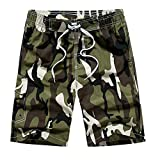 Vickyleb Mens Short Swim Trunks Boys Quick Dry Beach Broad Shorts Swim Suit with Mesh Lining Army Green