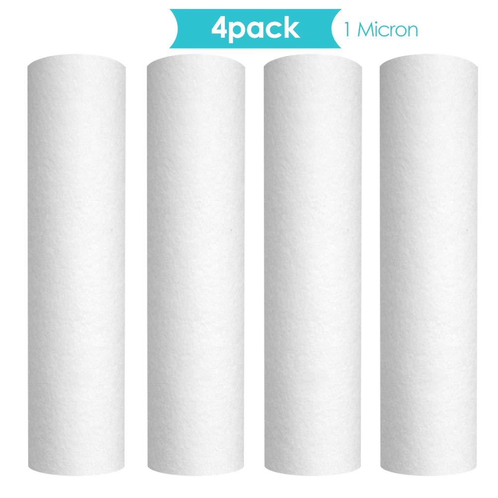 """Membrane Solutions 1 Micron 10"""" x 2.5"""" Whole House Sediment Water Filter Replacement Cartridge Compatible with Any 10 inch RO Unit, Whole House Sediment Filtration"""