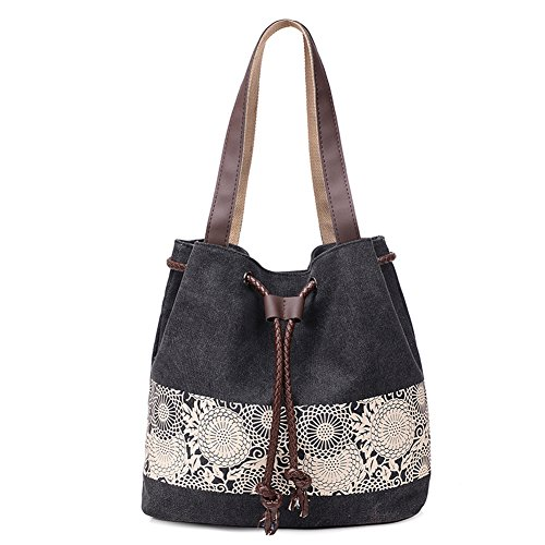 bag ladies Eleoption canvas BLUE for Bag Pattern Women's Retro shopper travel handbag and Floral girls women shoulder bag Black Shoulder bag Printed B8zqTE
