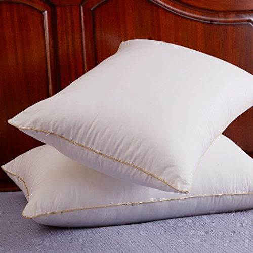 Set of 2, Cozy Pillow Hypoallergenic Premium Quality Bed Pillows, Cotton Fabric, Standard/Queen