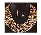 Nataliya Rosegold African Bib Statement Necklace Earrings Set