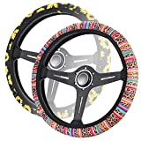 YR 2 Packs Steering Wheel Cover, Cute & Fashionable Pattern Car Steering Wheel Covers for Women and Girls, Car Accessories for Women, Easy to Install, Universal Fit, Sunflower & Leopard