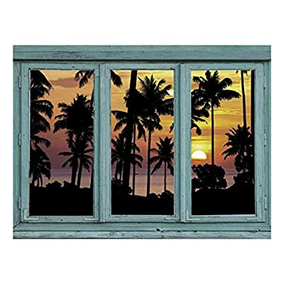 Wall26 - Silhouetted Palm Trees on a Carribbean Beach with a Setting Sun in The Background - Yellow and Orange Sunset - Wall Mural, Removable Sticker, Home Decor - 24x32 inches