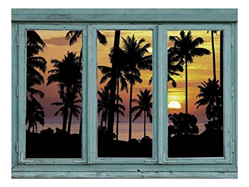 (wall26 - Silhouetted Palm Trees on a Carribbean Beach with a Setting Sun in The Background - Yellow and Orange Sunset - Wall Mural, Removable Sticker, Home Decor - 24x32 inches)
