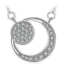 Silver Moon Flower Necklace, Women Girl Lovely Gifts Charm Cubic Zirconia Necklace ZHULERY Fine Jewelry