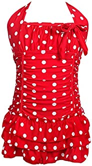 qyqkfly Girls Polk Dot Bathing Suit Cross-Back One Piece 4Y-14Y Swimsuit (FBA)