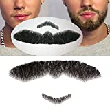 100% Human Hair Full Hand Tied Fake Mustache Beard Makeup for Entertainment/Drama/Party/Movie Prop