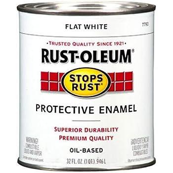 Rust-Oleum 7790502 Protective Enamel Paint Stops Rust, 32-Ounce, Flat White
