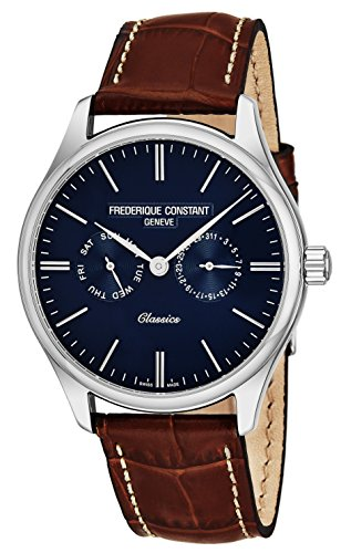 - Frederique Constant Classics Quartz Stainless Steel Mens Watch Leather Band - 40mm Analog Blue Face with Day Date and Sapphire Crystal - Brown Leather Strap Swiss Made Dress Watch For Men FC-259NT5B6