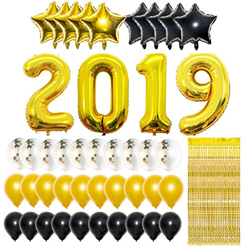 Gold 2019 Balloons Decorations with 10ft Metallic Gold Foil Fringe Curtain Bundle - Large, Pack of 45, Graduation Party Supplies, Large Size, Gold, Black, White, Latex Balloons, Star Balloons, Confett
