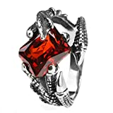 Bishilin Jewelry Men's Rings Stainless Steel Dragon Claw with Rectangle Cubic Zirconia Rings Size 8