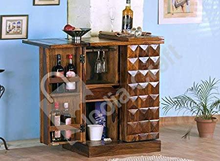 India Craft Pre-Assemble Sheesham Wood Stylish Bar Cabinet/Wine Rack/Beer Bar/with Wine Glass Storage- Living Room Furniture (Natural Finish)