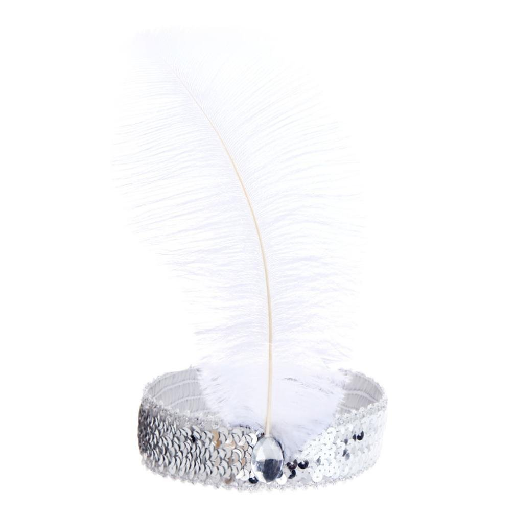 BODYA Headband 20's Deluxe white black Flapper Sequin Charleston Dress Costume Hairband Headpiece JW2589