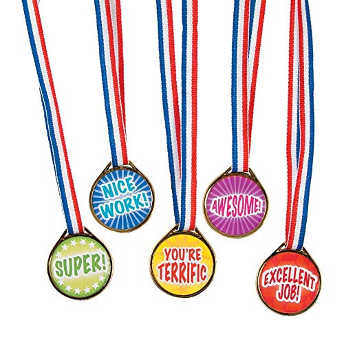 Fun Ribbon - Award Medals Assortment ~ 50 Plastic 1.5
