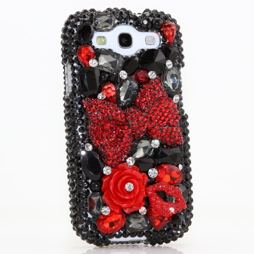 Samsung Galaxy S4 I9500 Luxury 3d Bling Case - Gorgeous Red Bow Rose Lips Black Gem Design - Swarovski Crystal Diamond Sparkle Girly Protective Cover Faceplate (100% Handcrafted By Star33mall)