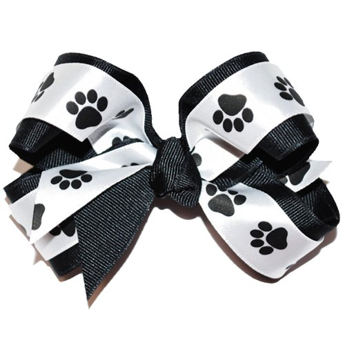 Squishy Pet Products Sprinkles Collar Accessories, Lot A Paw, 4-1/2-Inch, Black and White Paw Print Bow -