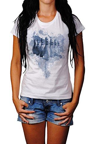Bowling Pins Lady T- Shirt , Stylisch aus Paul Sinus Aquarell Cyan Style