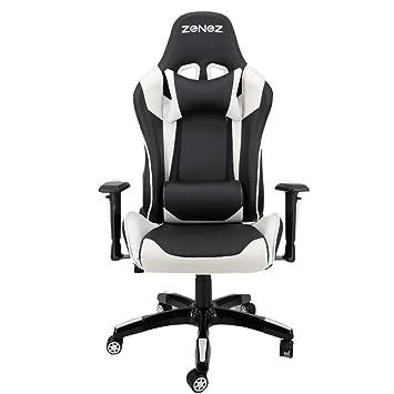 Silla Gaming Profesional PC Gamer Silla Oficina ergonomica reclinable Cuero PU con Cojín Lumbar Altura ajustable Blanco