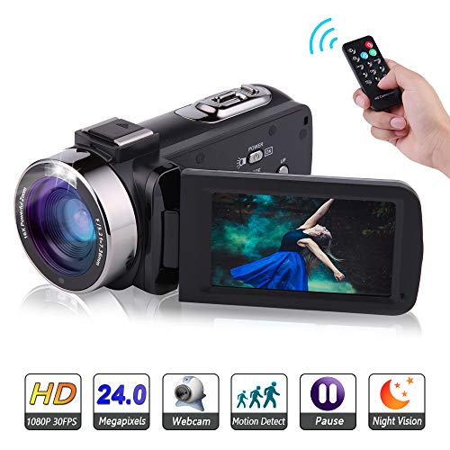 Video Camera Camcorder Full HD 1080P 30FPS 24.0MP Digital Camera Night Vision Vlogging Camera 16X Digital Zoom With Remote Control