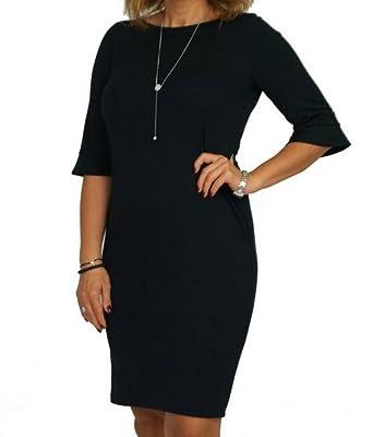 Berry Schwarzes Sexy Kleid 3/4 Arm Gr 40-54 Etuikleid Strickkleid ...
