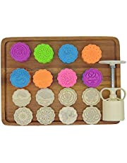 Moon Cake Mold Set 8pcs 50g Cookie Stamps, Mid Autumn Festival DIY Hand Press Cookie Dessert Cutter Pastry Decoration Tool Mooncake Maker