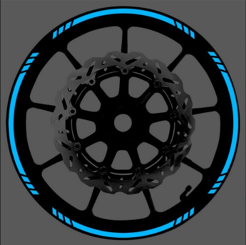 Vehicleartz Blue Reflective Speed Graduated Wheel Rim Tape Stripe fit Motorcycles, Cars, Trucks ()