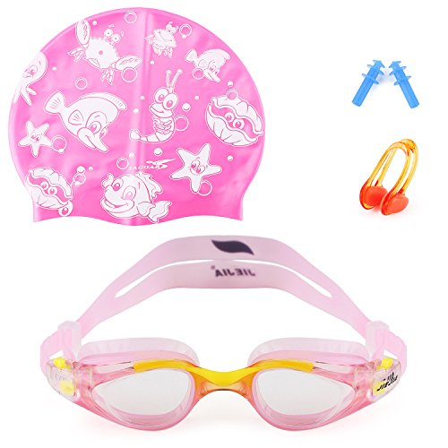 Mee'sport Kids Swim Goggles Set With Anti Fog UV Protection Swimming Goggles Swim Cap and Ear Plugs Nose Clip Swimming Equipment Toys Games Triathlon Equipment for Youth Kids Boys Girls