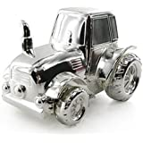 Baby Gift - Beautiful Silver Plated Tractor Money Box In Gift Box