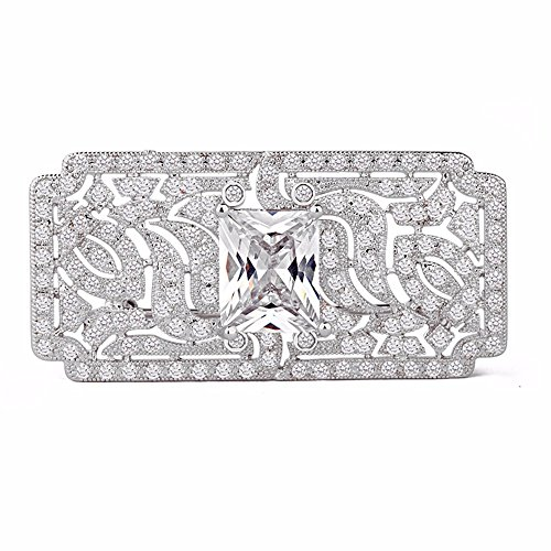GULICX Wedding Vintage Art Deco Zircon Brooch Pin Silver Plated Base Bride Prom White Clear ()