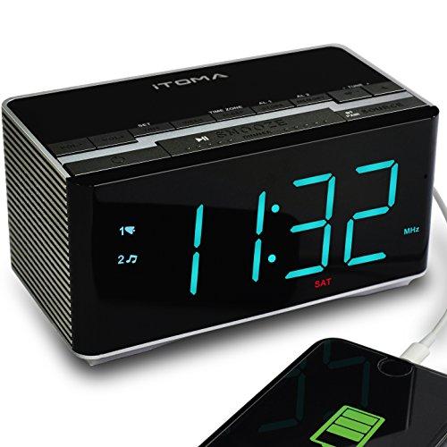 iTOMA Alarm Clock Radio with Wireless Bluetooth Stereo Speakers,Digital FM Radio,Dual Alarm with Snooze,Auto Dimmer,Cell Phone USB Charging (CKS3501BT) (Music Clock Box Alarm)