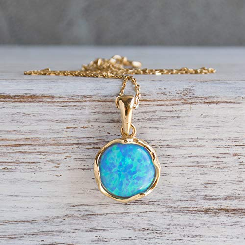 14K Gold Plated Blue Opal Necklace - 14K Gold over Plated 925 Sterling Silver, Dainty 12mm Blue Opal Gemstone Pendant October Birthstone, Delicate Handmade Vintage Antique Jewelry for Classy Women