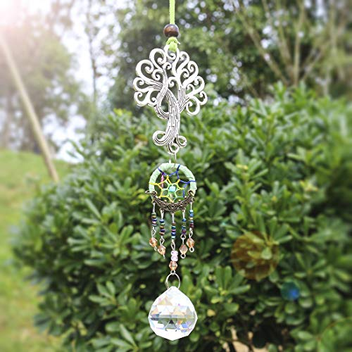 (H&D Life of Tree Pendant with Dream Catcher and 30mm Fengshui Crystal Ball Prism (Green))