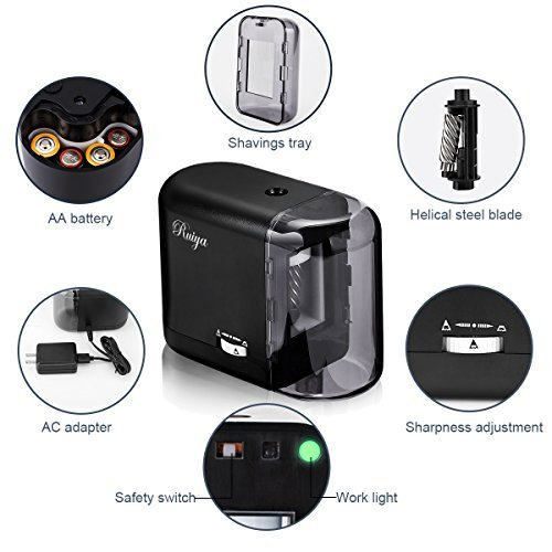 Electric Pencil Sharpener, Auto-Stop Feature and Best Heavy Duty Helical Blade Sharpeners for Office School Classroom Kids Artists, AC adapter or Battery Operated for No.2 and Colored Pencils. (Black) by RUIYA (Image #4)