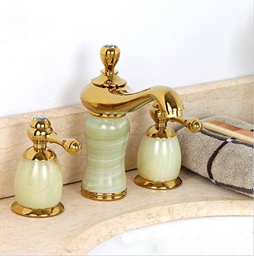 GOWE Luxury stone basin mixer faucet/ Copper gold Dual handle bathroom sink taps/Bathtub shower set 1