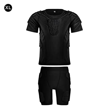 Wood.L Children Impact Compression Fill Shirt Football Basketball Skateboard Chest Protection Equipment Charging Armor Clothing Football Basketball Shoulder Set