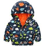 waterproof charts 78 - lymanchi Kids Baby Boy Casual Windbreaker Outerwear Dinosaur Printed Zipper Hooded Jackets Coat Navy Dinosaur 3T