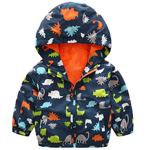 - lymanchi Kids Baby Boy Casual Windbreaker Outerwear Dinosaur Printed Zipper Hooded Jackets Coat Navy Dinosaur 2T