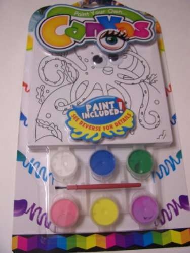 Paint Your Own Canvas Craft Kit ~ Underwater Octopus (Includes 6 Paints, Paint Brush, Canvas with Wiggle Eyes)