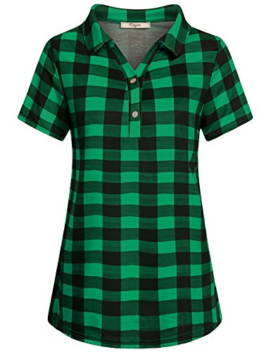 (Cestyle Green Plaid Shirt Women,Ladies Short Sleeve Lightweight Check Pattern Fitted Tunic Blouse Lapel Collar from Fitting Tops for Work XL)
