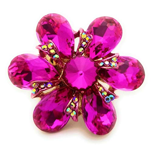 (Teri's Boutique Large Marquise Flower Crystal Stone Rhinestone Fashion Accessory Adjustable Women Rings (Pink))