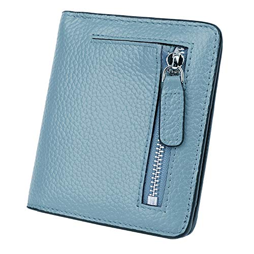 BIG SALE-AINIMOER Women's RFID Blocking Leather Small Compact Bifold Pocket Wallet Ladies Mini Purse with id Window (Gray Blue)
