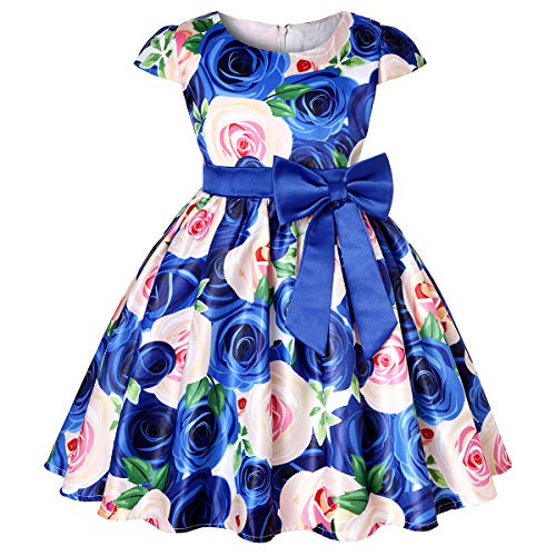 LLQKJOH Girls Dress Flower Bow Bridal Floral Printed Holiday Dress Size 4 (1818 Blue,4) -
