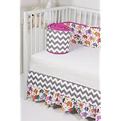 Rockingham Road Girl's Crib Bumper & Crib Skirt Set Pink Happy Elephants mixed with Grey Chevron,Made in the USA!