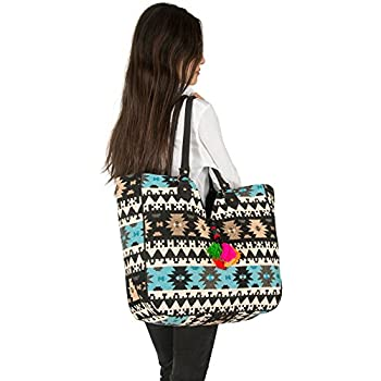 681cfdf974db TribeAzure Blue Aztec Large Tote Shoulder Bag Handbag Quilted Canvas Books  Market Beach College Picnic