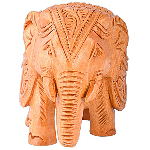 Wooden Carving Elephant / Hand Carved Elephant / Elephant Figure Made In India