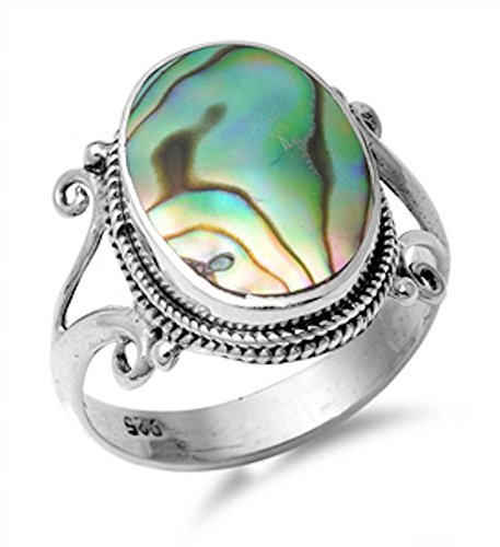 Oval Simulated Abalone Shell .925 Sterling Silver Ring Sizes 9