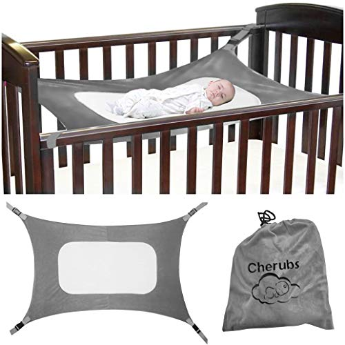 Baby Hammock for Crib, Soft and Comfortable Material with Strong Adjustable Straps, Mimics The Womb, Upgraded Safety Measures, Newborn Hammock by Cherubs (Gray)