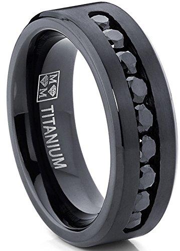 Men's Black Titanium Ring Wedding Engagement Band With 9 Large Channel Set Black CZ, 8mm Size 9.5 (Band Channel Set Round)