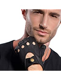 MATSU Mens Fingerless Driving Leather Black Gloves Available for Rivets DIY M1076S